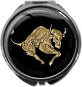Pillbox / Round / Model Leony / Star sign / Bull in gold