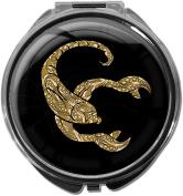 Pillbox / Round / Model Leony / Star sign / Scorpion in gold