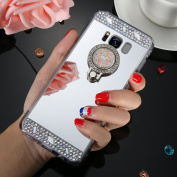 EUWLY iPhoen X Case,iPhoen X Silicone Case,Mirror Back Case for iPhoen X,Luxury Crystal Rhinestone Soft Gel TPU Rubber Bumper Mirror Case Bling Glitter Diamond Sparkle Makeup Mirror Back Cover with Built-in Rotation Grip Ring Kickstand for iPhoen X - S ..