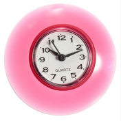 Silicone Bathroom Kitchen Shower Suction Wall Clock Water-Resistant Timer Glass Wall Window Mirror Shower Clock Pink