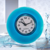 Silicone Bathroom Kitchen Shower Suction Wall Clock Water-Resistant Timer Glass Wall Window Mirror Shower Clock Blue