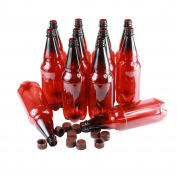 12 X Plastic Beer Bottles Amber/Red - Brown Lids - Homebrew
