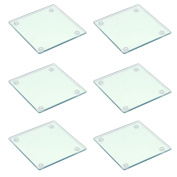 Square Glass Drinks Coasters - Clear - Pack of 6