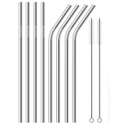 Stainless Steel Drinking Straws , Reusable Metal Drinking Straws Set of 8 with 2 Free Cleaning Brush Included …