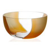 """Crystal Bowl, Fruit Bowl, Salad Bowl, Ideal for dinner parties, Collection """"ELEMENTS"""", 225cm, orange/yellow, lead crystal"""