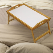 Taylor & Brown® Lightweight Wooden Bamboo Breakfast in Bed Serving Tray with Folding Legs and Handles