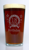 (FBA) Engraved 18TH BIRTHDAY STAR Pint Glass Gift