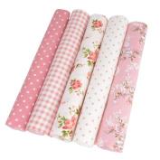 5pcs Quilting Fabric Bundles Cotton patchwork Squares Cloths Pink for Sewing 25x25cm