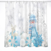 Snowman,Snowflakes,Snowballs Shower Curtain for Bathroom,180W x180H CM Waterproof Polyester Fabric Bath Curtain,Hook Included