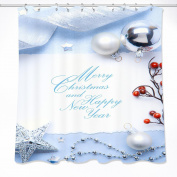 Mistletoe,Silver Christmas Ball,Tape Shower Curtain for Bathroom,180W x180H CM Waterproof Polyester Fabric Bath Curtain,Hook Included,Red,White