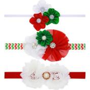 Milopon Headband Hairband Baby Christmas Headbands Elastic Flower Headband for Kids Girls 3pcs