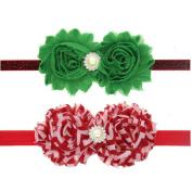 Milopon Headband Hairband Baby Christmas Headbands Elastic Flower Headband for Kids Girls 2pcs