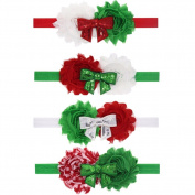 Milopon Baby Headband Hairband Christmas Headbands Elastic Flower Headband Headwear for Kids Girls 4pcs