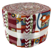 Fabric Freedom Construction Red Jelly Baby Roll, 100% Cotton, Multicoloured, 9 x 9 x 7 cm
