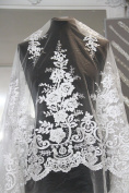 K5 (non-sequinned) Ivory bridal dress lace fabric 135cm wide sold by sample or 0.5 yard