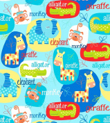 Swingin' Safari Cotton Fabric - Blue - Studio E - 1/2 Mtr