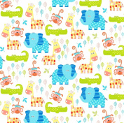 Swingin' Safari Cotton Fabric - White - Studio E - 1/2 Mtr