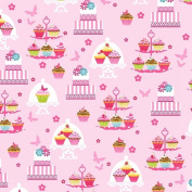 Cupcake Cafe Cotton Fabric - Cake Stand - Pink Studio E - 1/2 Mtr
