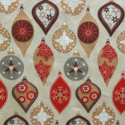Christmas Bauble Decoration Printed 100% Cotton Fabric - Beige Red & Grey - 150cm wide - Sold by the metre