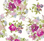 Soimoi 150cm Inches Wide 180 GSM Floral Printed 2 - Way Stretch Velvet Fabric By The Metre - Pink