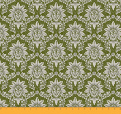 Soimoi 110cm Inches Wide Floral Damask Printed 105 GSM Poly Satin Sewing Fabric By The Metre - Olive Green