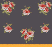 Soimoi 130 GSM Moss Georgette 110cm Inches Wide Floral Printed Sewing Fabric By The Metre - Grey