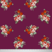Soimoi 150cm Inches Wide Floral Printed 2 - Way Stretch Velvet Sewing Craft Fabric By The Metre - Purple