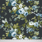Soimoi Decorative 110cm Inches Wide Floral Printed Poly Satin Fabric For Sewing By The Metre - Dark Grey