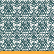 Soimoi 105 GSM Floral Damask Printed 110cm Wide Poly Satin Sewing Fabric By The Metre - Dark Green