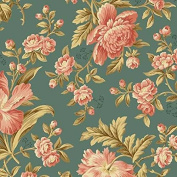 Cotton fabric - Metre - Andover - Crystal Farm - Rose Horseshoe Blue