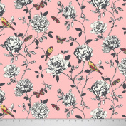 Soimoi Poly Satin Fabric 105 GSM Bird & Floral Printed 110cm Inches Wide Material By The Metre - Coral Pink