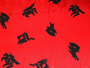 Chinese Symbols Print Satin Dress Fabric Red - per metre