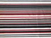 Stripe Print Stretch Satin Dress Fabric Red - per metre
