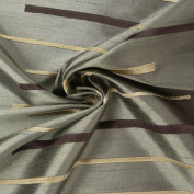 Rasch Curtain Decorative Fabric Silk Look Embroidery Fabric By the Metre Reflection Stripes Brown 150 cm