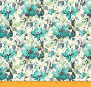 Soimoi Floral Printed 2 - Way Stretch Velvet Fabric By The Metre 150cm Inches Wide - Sea Green