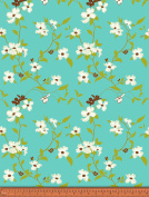 Soimoi Floral Printed 130 GSM Moss Georgette Fabric By The Metre 110cm Inches Wide - Light Teal Green