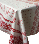 Red Christmas Fair Isle Knitted Effect PVC Tablecloth Fabric