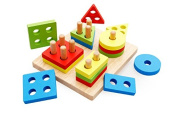 andensoner Funny Kids Early Learning Wooden Colourful Geometric Building Block Set