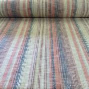 Maya Vintage Linen Charcoal Blue Orange Stripe 140cm Material Sewing Upholstery Curtain Craft Jacquard Fabric