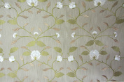 """Malena Ivory Floral Embroidered Faux Silk Voyage Lorient140cm/54"""" Designer Material Sewing Upholstery Curtain Craft Fabric"""