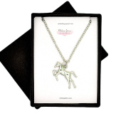 Rhodium Plated Silver Tone Horse Pendant/ Necklace - Boxed