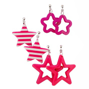 Candy Colourful Stylish Star Pattern Clip-on dangle Earrings 5 Colours Gift Set, for Teen Girls, Womens