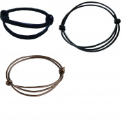 Black Young Adjustable Genuine Leather Bracelets Anklet for Man and Woman
