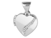 Silver Heart Locket With Diamond Curve Feature -