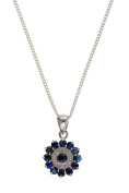 """12MM Wide Art Deco Style Sparkling Genuine Sapphire & Diamond Round Cluster Pendant Necklace On 16"""" Inch Curb Chain - 12mm X 18mm - 925 Sterling Silver - Supplied in Free Gift Box/Gift Bag"""