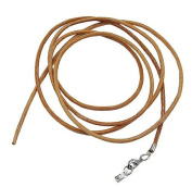 Unbespielt Leather Cord Necklace for Pendant Brown Women Men or Kids Lobster Claw Clasp Silver Can be shortened 1 m Width