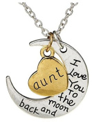 1 Set Of Two Double Heart Pendant Necklaces And Moon With Writing On Both Sides I Love You To The Moon And Back Aunt
