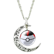Mnpkmn - Necklace Pokemon Ball Go Poke 'Poke-Ball Double Moon Pendant And Cabochon In 7 Colours To Choose From