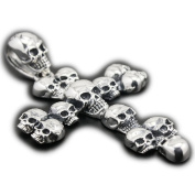 LINSION Religious Jewellery Crowd Skulls Cross Pendant 925 Sterling Silver Mens Biker Gift 8C022-JP