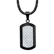 Willis Judd New Mens Black Stainless Steel Dog Tag Pendant Silver Carbon Fibre with Necklace & Gift Pouch